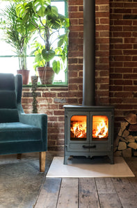 Charnwood All New Island I Woodburning Stove Double Door Living Room on Brick Wall