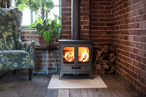 Charnwood All New Island I Woodburning Stove Double Door Living Room on Brick Wall Gunmetal