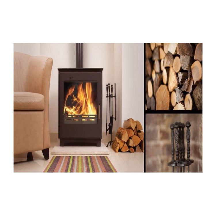 Arada Ecoboiler Wood Boiler Freestanding Beside Sitting Area With Logs and Fire Companion Set on Display