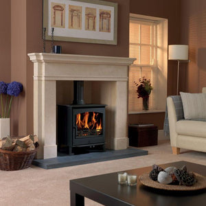 Astwood Wood Burning Stove in Fireplace with Cream and Terracotta Palette Living Room
