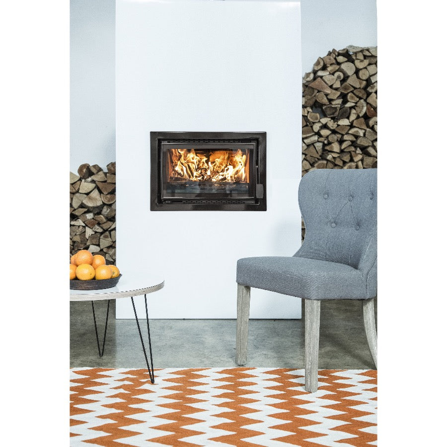 Bay VL Eco Design Wood Burning Fire Inset Wall Log Storage own Side in Orange themed room
