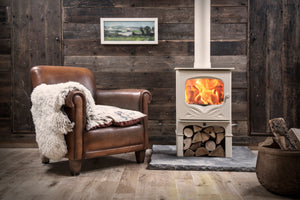 Charnwood Bembridge Eco Design Log Storage with Brown Leather Chair Wood Cabin Lodge