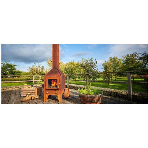 Bijuga Outdoor Wood Burning Stove Garden Visible Timeless Nuts Bolts on Decking in Garden