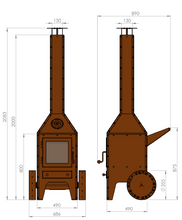 Load image into Gallery viewer, Bijuga Outdoor Stove Dimensions On Wheels Front View Side View