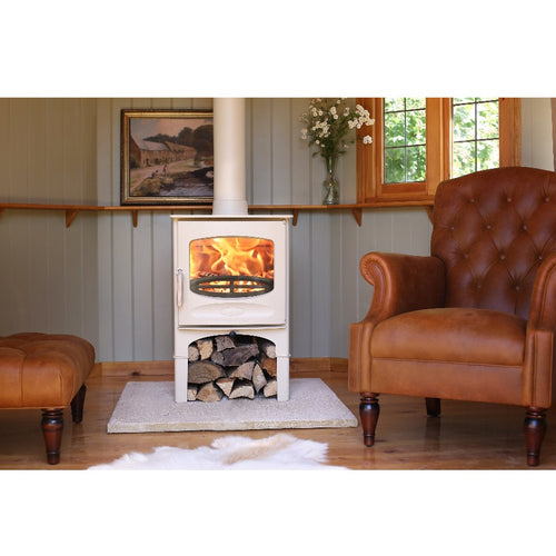 Charnwood C Five Freestanding Log Storage in Country Style Home Wood Panelled Walls Brown Leather Library Chair
