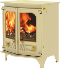 Load image into Gallery viewer, Charnwood Country 6 Wood Burning Fire Freestanding Angled Double Door Almond with Shelf