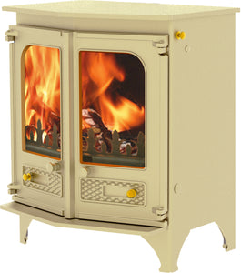 Charnwood Country 6 Wood Burning Fire Freestanding Angled Double Door Almond with Shelf