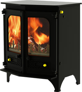 Charnwood Country 6 Wood Burning Fire Freestanding Angled Double Door Black with Shelf