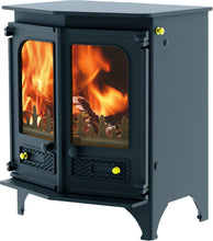 Load image into Gallery viewer, Charnwood Country 6 Wood Burning Fire Freestanding Angled Double Door Blue with Shelf