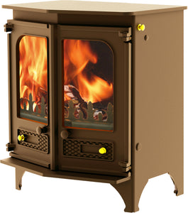 Charnwood Country 6 Wood Burning Fire Freestanding Angled Double Door Bronze with Shelf