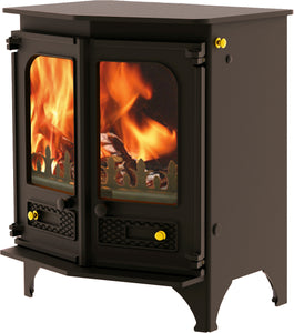 Charnwood Country 6 Wood Burning Fire Freestanding Angled Double Door Brown with Shelf