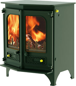 Charnwood Country 6 Wood Burning Fire Freestanding Angled Double Door Green with Shelf
