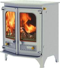Load image into Gallery viewer, Charnwood Country 6 Wood Burning Fire Freestanding Angled Double Door Pewter with Shelf