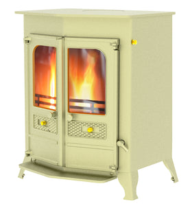 Charnwood Country 16B Multifuel Wood Burning Fire Freestanding Double Door Almond