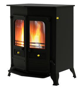 Charnwood Country 16B Multifuel Wood Burning Fire Freestanding Double Door Black