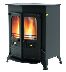 Charnwood Country 16B Multifuel Wood Burning Fire Freestanding Double Door Blue
