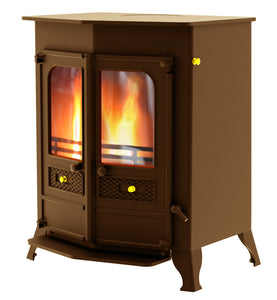 Charnwood Country 16B Multifuel Wood Burning Fire Freestanding Double Door Bronze