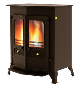 Charnwood Country 16B Multifuel Wood Burning Fire Freestanding Double Door Brown