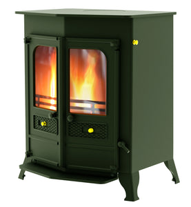 Charnwood Country 16B Multifuel Wood Burning Fire Freestanding Double Door green