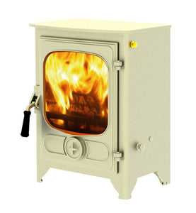 Charnwood Country 4 Wood Burning Fire Freestanding Wooden Handle Almond
