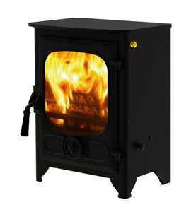 Charnwood Country 4 Wood Burning Fire Freestanding Wooden Handle Black