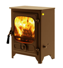 Load image into Gallery viewer, Charnwood Country 4 Wood Burning Fire Freestanding Wooden Handle Bronze