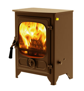 Charnwood Country 4 Wood Burning Fire Freestanding Wooden Handle Bronze