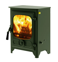 Load image into Gallery viewer, Charnwood Country 4 Wood Burning Fire Freestanding Wooden Handle green