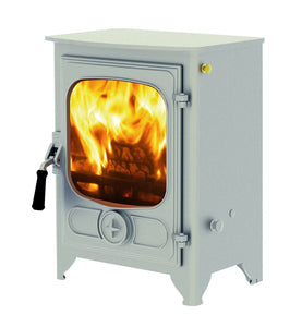 Charnwood Country 4 Wood Burning Fire Freestanding Wooden Handle Pewter