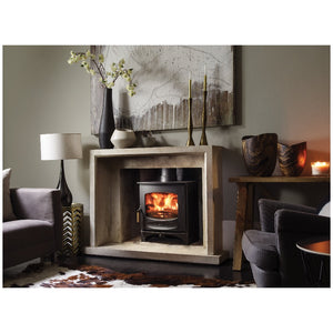 Charnwood C Seven Freestanding Wood Burning Stove in Marble Fireplace