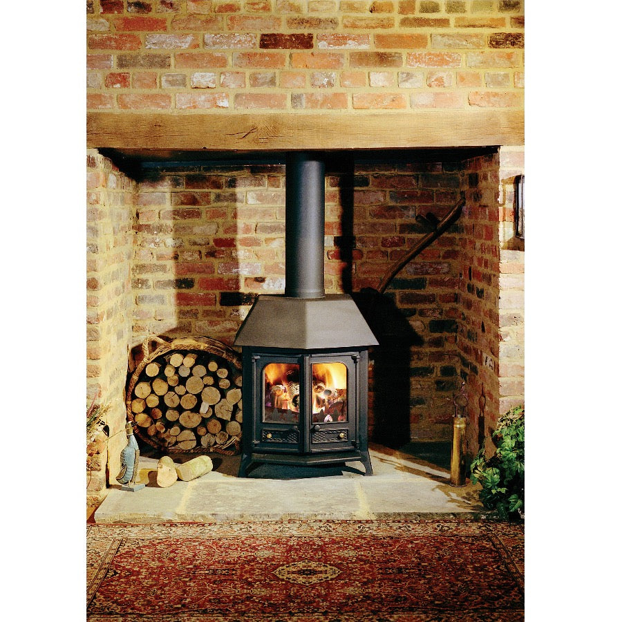 Charnwood Country 12 Brick Fireplace Double Door Traditional House Living Room Stove