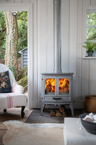 Charnwood All New Island I Woodburning Stove Double Door Living Room on Grey Wood Wall Pewter