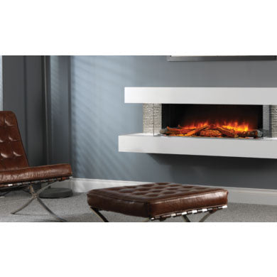 Evonic Compton 1000 Electric Fireplace Feature Side Lighting On Stone Living Room Wall