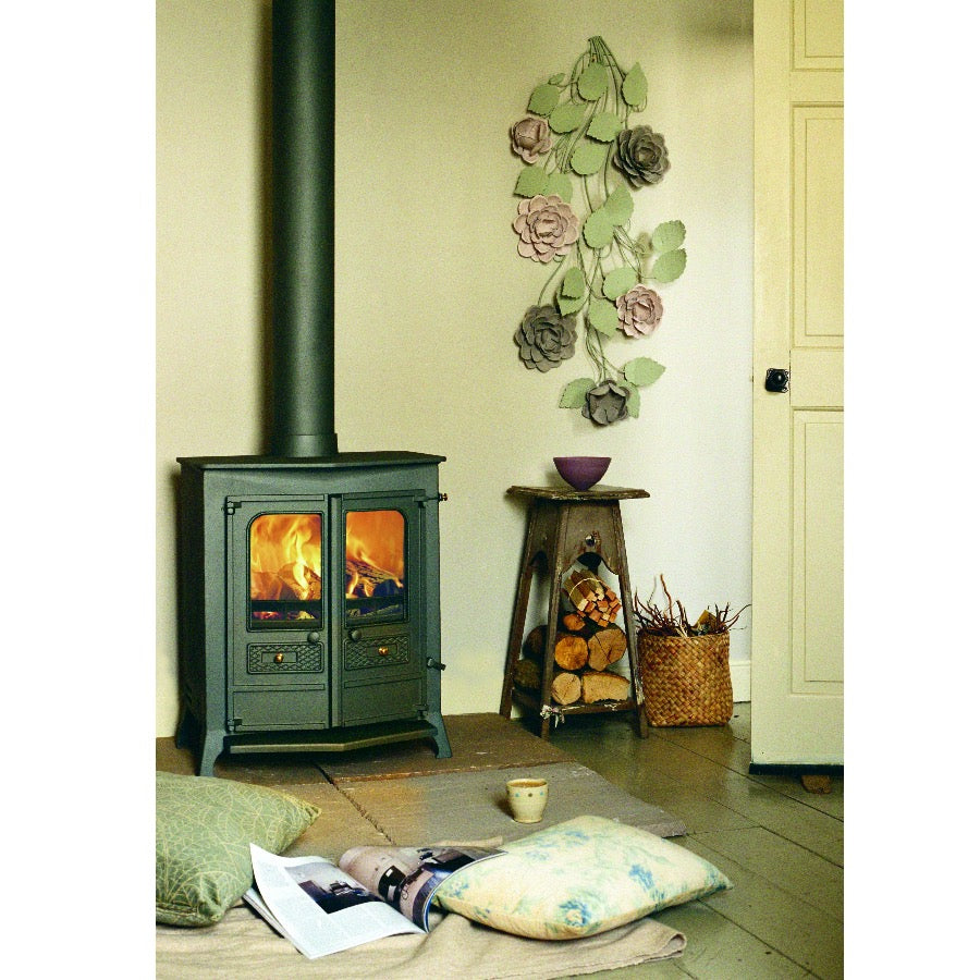 Charnwood Country 16B Multifuel Wood Burning Fire Freestanding Double Door Modern Interior Design