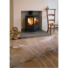 Load image into Gallery viewer, Charnwood Country 6 Wood Burning Fire Freestanding Double Door Angled on Stone Animal Skin Rug