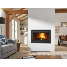 Load image into Gallery viewer, Dik Geurts Instyle 1000 Built In Wood Fire in Cosy Wood Beamed Home Living Room