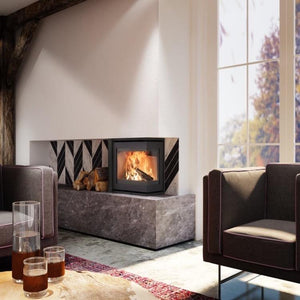 Dik Geurts Instyle Corner Panoramic Fire Slim Wood Burning Luxury Model 660-495EA Living Room by Large Window
