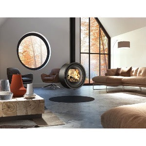 Dik Geurts Odin Tunnel Fixed Round Hanging Wood Burning Stove Double Sided Contemporary InStyle Hanging from Centre Architecture Design Living Room Industrial Floor