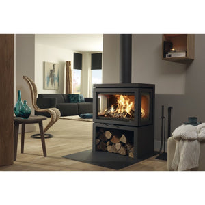 Dik Geurts Vidar Triple Sided Cast Iron Wood Burning Fire Log Storage