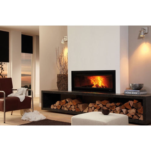 Dik Geurts Vision 100 Widescreen Wood Burning Fire Wood Storage Logs Cream Interior Design