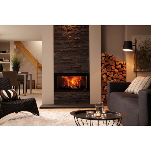 Dik Geurts Vision 80 Wood Burning Fire on Slate Stacked Chimney Breast Wall with Wood Storage in Wall Cream Chocolate Interior Design