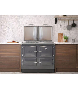 Esse 990 Grey Electric Range Cooker in Fitted Kitchen with Both Lids Open