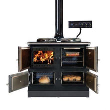 Load image into Gallery viewer, Esse 990 Hybrid Wood Electric Cooker Range View of All Doors Open Fire Burning Bread Baking Casserole Muffins