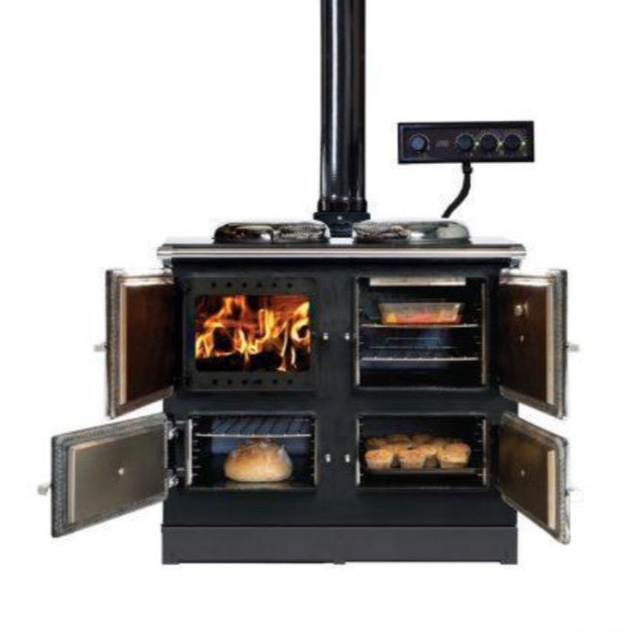 Esse 990 Hybrid Wood Electric Cooker Range View of All Doors Open Fire Burning Bread Baking Casserole Muffins