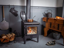 Load image into Gallery viewer, Esse Warmheart Pan Cooking Dish on Stove Wood Burning Stove in Country Kitchen Pizza Spade Wood Logs Country Cottage