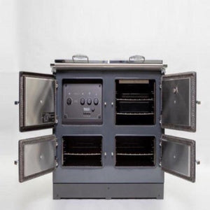 Esse 990 Grey Electric Range Cooker with All Doors Open Inside View 3 Zone Induction Top Oven and Grill Slow Cook Oven and Bottom Oven