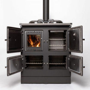 Esse Electric 990 Hybrid Wood Electric Cooker Full View All Doors Open Inside View Fire Burning