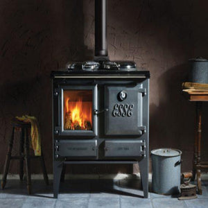 Esse Ironheart Black Wood Burning Cooker in Country Style Home Freestanding