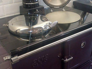 Esse Wood Burning Range Cooker 990 WN Violet Colour Side Top View One Lid Open