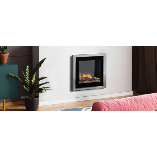 Evonic Ev6i4 Cosay Home Small Fireplace In Living Room with Plant and Dusty Pink Sofa